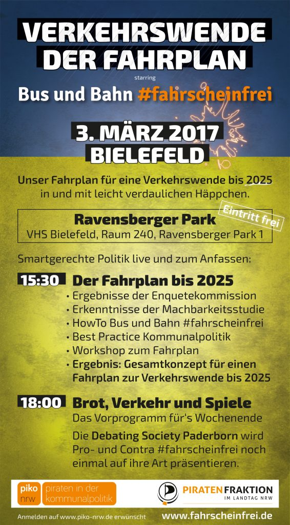 Fahrscheinfrei-Veranstaltung: Verkehrswende, Der Fahrplan, 3. März 2017 ab 15:30 in Bielefeld, Ravensberger Park